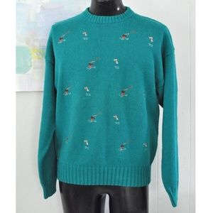 Embroidered Sweater Fly Fishing Teal Aqua Large